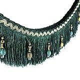 Stoffband, Läufer, 1,82 m geflochtene Perlen, hängende Kugelquaste, Fransenrand, Stoff mit Applikation - Vorhang, Tisch, Hochzeitsdeko grün