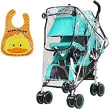 Jeffica 2pcs Protector de lluvia Universal para Silla de Paseo y Baberos Bebe EVA Impermeables Protector