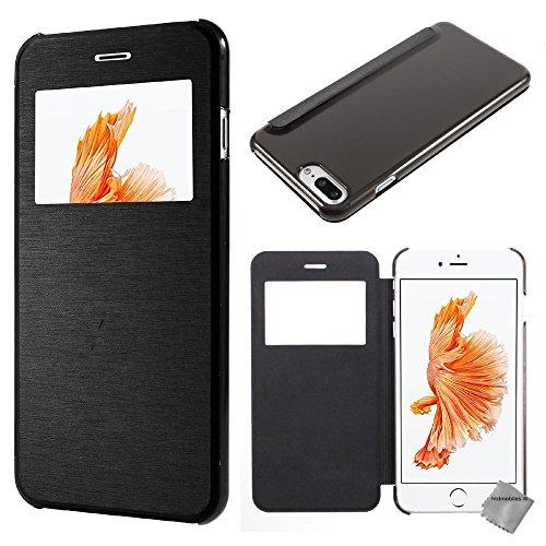 Housse etui coque portefeuille view case pour Apple iPhone 8 Plus + film ecran - BLANC Noir view