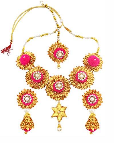 BLENT#63 Traditional Beautiful Pink Gota Patti Fabric Jewellery Set for Women/Girls/Kids/Bride/Wedding/Haldi/Mehndi (10...