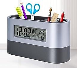 Tuelip Plastic Digital Snooze Alarm Shelf Clock with Pen Holder (10 cm x 8 cm x 8 cm, Black)