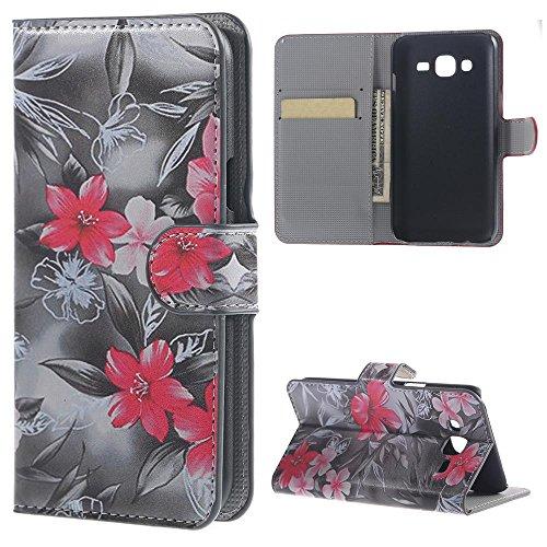 Galaxy J5 Case - Flip Cover Leder Wallet Case Schutzhülle für Samsung Galaxy J5 SM-J500F Tasche Hülle Handytasche Etui Schale Backcover im Bookstyle mit Standfunktion Kredit Kartenfächer (Rote Blume)