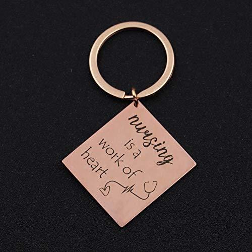 DCFVGB GraviertePflege A Work Heart Keychain Krankenschwester Geschenk Weißen Winkel Schmuck Strichmännchen Stethoskop Krankenschwester