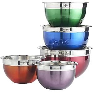 VonShef Premium assortiment bols pour mélanger 5 pièces en acier inoxydable Multicolores - 1.6L, 2L, 3L, 4L et 5L