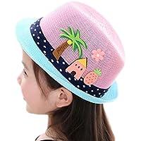 Westeng Sombrero de Paja Protector solar Respirable Sol del Sombrero Moda Patrón de dibujos animados sombrero de los niños
