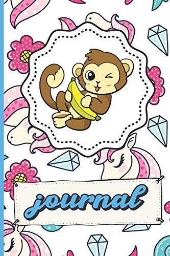 Monkey Unicorns Diamonds Hearts And Flowers Journal: Funny Cute Notebook For Girls and Boys of All Ages. Great Gag Gift or Surprise Present for ... Anniversary, Graduation and During Holidays