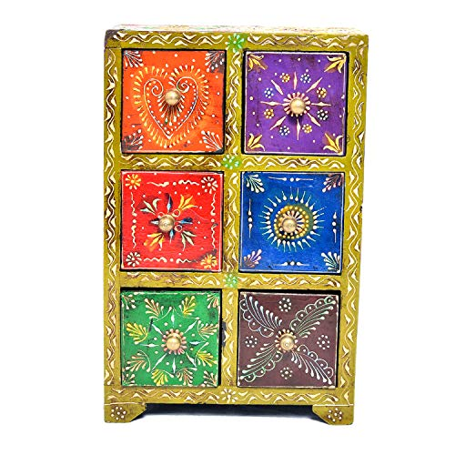 Jaipur Crafrafts Hub Multicolore en Bois Massif avec 6 tiroirs avec Porte-étiquette en métal