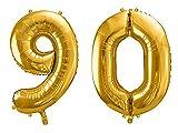 SiDeSo® Folienballon XXL GOLD Heliumgeeignet Party Geburtstag Jahrestag Hochzeitstag Jubiläum Zahlenluftballon Luftballon Zahl (Zahl 90)