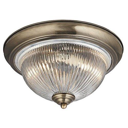 Deckenleuchte in Messing Antik Jugendstil 2xE14 bis zu 40 Watt 230V aus Metall & Glas Badezimmer Küche Esszimmer Lampen Leuchte innen