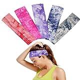 OKPOW 5 Frauen weiche Baumwolle Tie Dye Elastic Stretch Schweißband