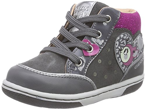 Geox Baby Mädchen B FLICK GIRL B Lauflernschuhe, Grau (C9325DK GREY/FUCHSIA), 26 EU Fuchsia Patent Schuhe