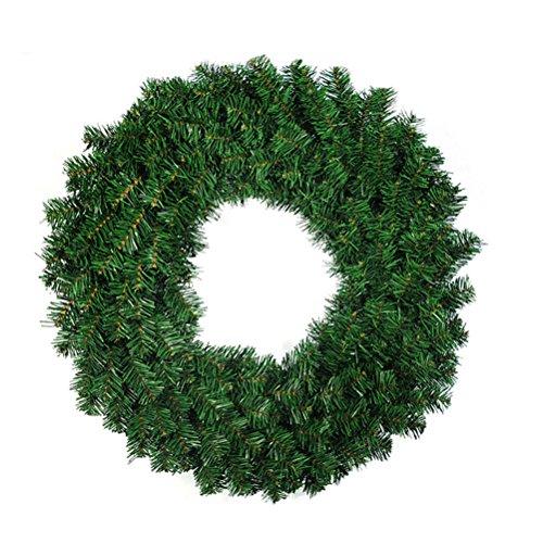 OULII Une couronne de Noël Porte de la maison Cone de pin décoratif Baies Noël Décoration saisonnière pour décoration de fête de vacances - 15.7 pouces avec des aiguilles de pin