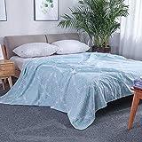 DS-LY Toalla de algodón de Verano con Gasa. La Manta del Aire Acondicionado Puede Hacerse con sábanas, Manta Doble de algodón, Manta de Siesta para niños, 200 cm x 230 cm, Verde Ouya.