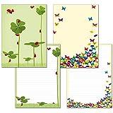 2 Stück - Schreibblock 1x Schmetterlinge 1x Glücksklee mit Marienkäfern je 24 Blatt Format DIN A4 mit Deckblatt 7210+