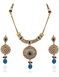 Variation Blue Stone Studded Gold Plated Necklace Pendant Set-VD15013