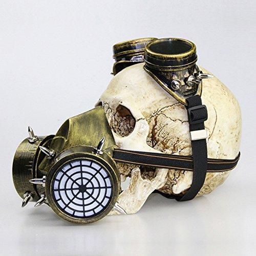 XY Fancy Halloween Schutzbrillen Maske Gasmasken Party Cosplay Fantasie Gothic Steampunk Metall Rivet Schädel Maske, Gold (Halloween Gasmaske)
