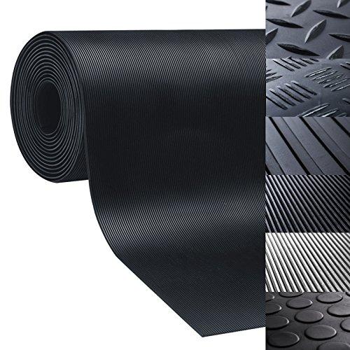 Gummiläufer | Meterware in vielen Größen | Gummimatten mit rutschhemmender Oberflächenstruktur | Feinriefen 100x100 cm | Stärke: 3mm | Schwarz