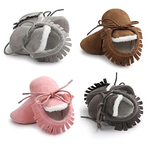 Gaorui Babys Neugeborene warm Lauflernschuhe Krabbelschuhe Puschen aus weich Leder mit Schnür Quaste Dunkelgrau
