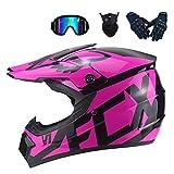MRDEAR Casque Motocross Femme Rose, Casque VTT Integral/Goggle/Gants Moto/Masque,...