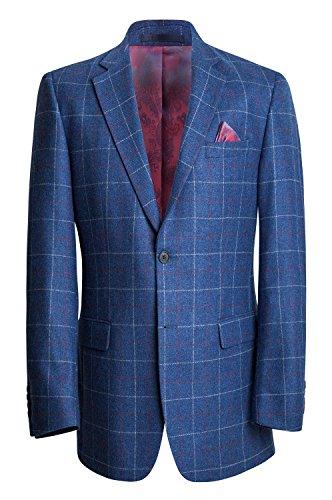 Herren Überprüfen Sie die Tweed-Blazer - Blau-Rot-Weiß (38R) -