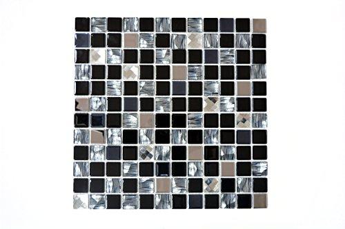 Glas-mosaik-fliese (Fliesen Mosaik Mosaikfliese schwarz Alu Glas glänzend Küche Bad WC 4mm Neu #617)