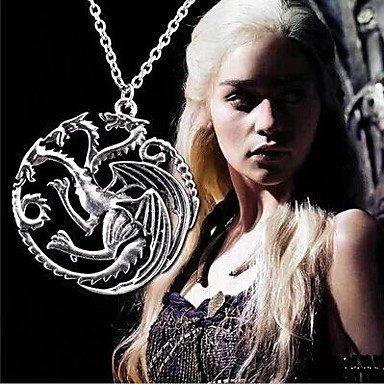 jxx maglietta da uomo Retro Game of Thrones Targaryen drago collana, base metal, colore: argento, cod. JXX Necklace-245151379