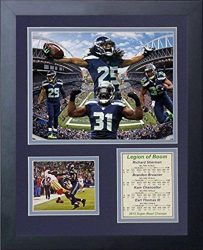 Legenden Sterben Nie 2014Seattle Seahawks Super Bowl XLVIII Champions Legion of Boom gerahmtes Foto Collage, 11x 35,6cm (Autogramm Collage)