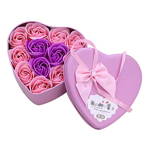 Arbitra 11pcs sapone fiori rosa bombe da bagno a mano a forma di scatola di latta a forma di cuore per la festa di compleanno anniversario di compleanno di san valentino