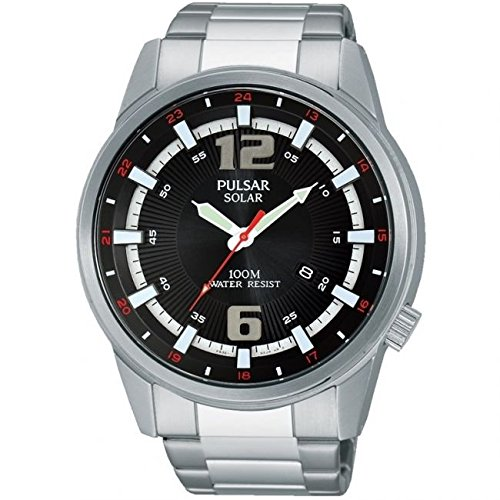 Pulsar Mens Watch PX3085X1, Multicolor (Black/Silver)