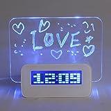Baban Uhr Wecker mit USB eletronischer Wecker Memoboard Eletronisch Blau