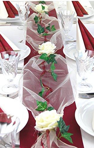 """Fibula [Style] ® Komplettset \""""Flair bordeaux\"""" Größe M Tischdekoration für Hochzeit/Taufe/Geburtstag/Kommunion/Konfirmation/Jubiläum in bordo - creme für ca. 16 - 20 Personen"""