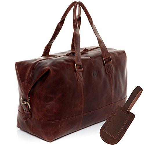 SID & VAIN Reisetasche mit Adressanhänger Leder Yale groß Sporttasche Unisex Weekender echte Ledertasche Damen Herren braun