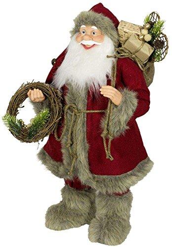 Weihnachtsmann Santa Nikolaus Leon mit schönem Gesicht und vielen Details / Größe ca.60cm / roter Fellmantel, rote Fellmütze, rote Hose, Fellstiefel, Trendyshop365