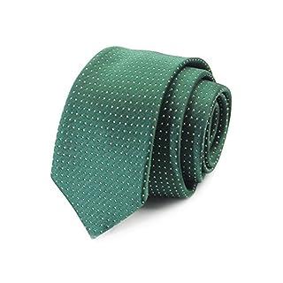 AGENT X Mens Chambray Fashion Daily Casual Skinny Tie Narrow Slim Tie Green Dot Polyester Necktie ATB015