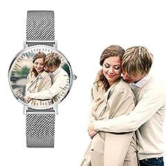 Idea Regalo - Orologio personalizzato in acciaio inossidabile con foto per gli amanti Regalo personalizzato personalizzato per orologio da polso da donna