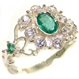 High Quality Emerald & Diamond Solid 14ct White Gold Ladies Ring - Finger Sizes J to Z Available