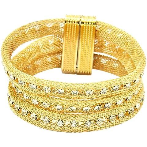 Brasilinhas - Bracciale dorato, con cristalli Swarovski, donna