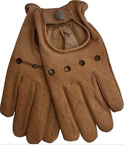 Herren Driving Autofahrer-Handschuhe Lederhandschuh in braun M