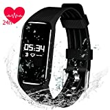 QIMAOO Heart Rate Monitor Smart Bracelet, K1 Fitness Activity Tracker IP67 Waterproof with Sleep Monitor/Pedometer/Calories Counter/Call/SMS Reminder Syncs iPhone & Android Smartphones for Men Women