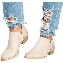 Botines Mujer Tacon Medio Planos Invierno Tacon Ancho Piel Botas Botita Moda 3cm Casual Planas Zapatos