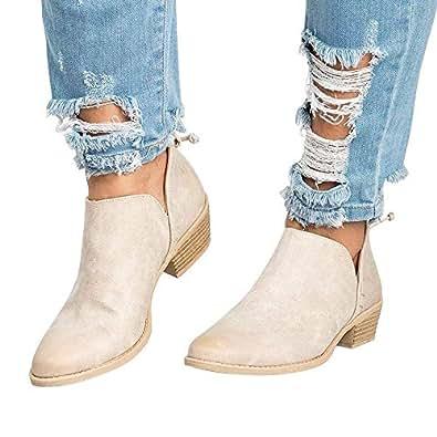 ceebcec55215 Bottine Femmes Plates Boots Femme Cheville Basse Cuir Bottes Talon Chelsea  Chic Compensé Grande Taille Chaussures