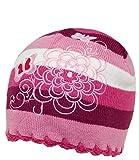 EveryHead Mädchenstrickmütze Strickmütze Strickbeanie Wintermütze Winterbeanie Wollmütze Mütze Beanie mit Stickerei für Kinder (PT-2263-W16-MA0-10-54/56) in Pink, Größe 54/56 inkl Hutfibel