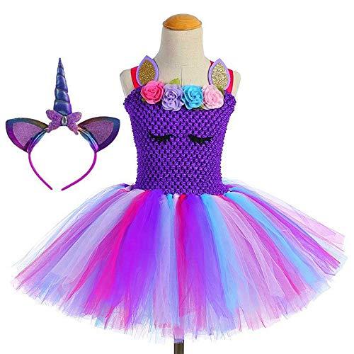 Verzauberte Kostüm Einhorn - Albi Moda Einhorn Tutu Kleid für Mädchen Kinder Geburtstag Party Einhorn Kostüm Outfit mit Stirnband 7-8 Years violett