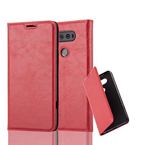 Cadorabo Hülle für LG V20 - Hülle in Apfel ROT – Handyhülle mit Magnetverschluss, Standfunktion und Kartenfach - Case Cover Schutzhülle Etui Tasche Book Klapp Style