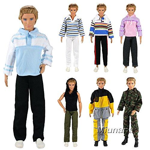 Miunana 5 Sets Kleid Kleidung Tops Jacke Hosen Fashionistas für Barbie Puppen KEN