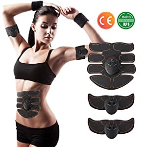 Charminer Ab Toner, EMS Muscle Trainer, Abdominal Toning Belts, Wireless Body Gym Workout Fitness Equipment For Abdomen/Arm/Leg Training Men & Women Black Yellow