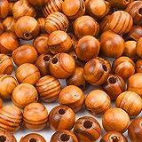 BronaGrand 200 perline rotonde in legno naturale da 10 mm per creare gioielli fai da te