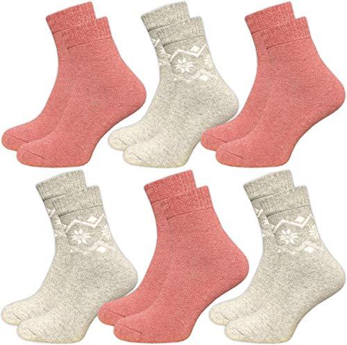 GAWILO 6 Paar warme Damen Winter Thermo Socken mit Wolle - Vollplüsch - super weich - weicher Abschlussbund - feine Zehennaht (35-38, rosa/grau)