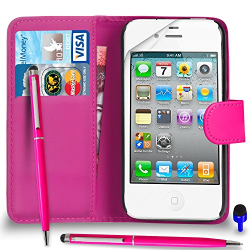 Apple iPhone 4 / 4S Premium Leather Wallet noir flip écran Housse Pouch + stylo à bille tactile Stylet + Protecteur & Chiffon PAR SHUKAN®, (Noir) Rose Vif