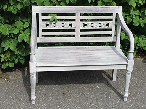 Teak Landhaus Bank Parkbank Gartenbank Blumen Bank Grau 2 Sitzer Shabby Chic Grey washed anitik grau massiv